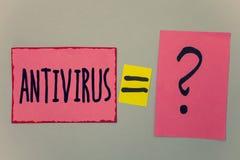 Begriffshandschrift, die Antivirus zeigt Geschäftsfototext Verwahrungs-Sperren-Brandmauer-Sicherheits-Verteidigungs-Schutz-Sicher Lizenzfreie Stockbilder
