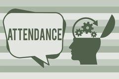 Begriffshandschrift, die Anwesenheit zeigt Geschäftsfototext, der an, geht Platz oder Ereignis Zahl anwesend regelmäßig zu sein vektor abbildung