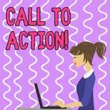 Begriffshandschrift, die Aufruf zum Handeln zeigt Gesch?ftsfoto-Textermahnung, etwas im Auftrag zu tun erzielen Ziel mit vektor abbildung