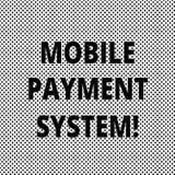 Begriffshandschrift, die bewegliches Zahlungs-System zeigt Geschäftsfoto Präsentationszahlungsdienstleistung erbracht über Mobile stock abbildung