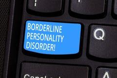 Begriffshandschrift, die Borderline-Persönlichkeitsstörung zeigt Geistesstörung des Geschäftsfototextes markiert durch instabiles stockbilder