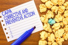 Begriffshandschrift, die Capa korrektiv und vorbeugende Maßnahmen zeigt Geschäftsfoto-Text Beseitigung von stockfotos