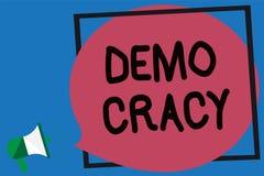 Begriffshandschrift, die Demo Cracy zeigt Präsentationsfreiheit des Geschäftsfotos der Leute, zum ihrer Gefühle und Glaubens ausz vektor abbildung