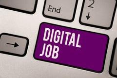 Begriffshandschrift, die Digital-Job zeigt Die Geschäftsfotopräsentation werden die Aufgabe bezahlt, die durch Internet und Perso lizenzfreie stockfotografie
