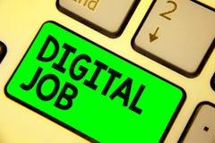 Begriffshandschrift, die Digital-Job zeigt Die Geschäftsfotopräsentation werden die Aufgabe bezahlt, die durch Internet und Perso stockbilder