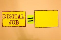 Begriffshandschrift, die Digital-Job zeigt Die Geschäftsfotopräsentation werden die Aufgabe bezahlt, die durch Internet und Perso lizenzfreie stockfotos