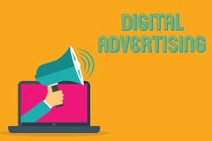 Begriffshandschrift, die Digital-Werbung zeigt Geschäftsfoto-Text Online-Marketing liefert fördernde Mitteilungs-Kampagne vektor abbildung
