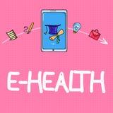 Begriffshandschrift, die e-Gesundheit zeigt Geschäftsfototext Gesundheitswesenpraxis Auftrieb gegeben durch elektronische Methode stock abbildung
