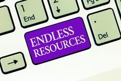 Begriffshandschrift, die endlose Betriebsmittel zeigt Unbegrenzte Versorgung des Geschäftsfoto-Textes Aktien oder finanziell stockbilder