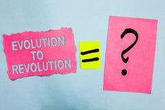 Begriffshandschrift, die Entwicklung zur Revolution zeigt Präsentationsanpassung des Geschäftsfotos Weise des Lebens für Geschöpf stockbilder