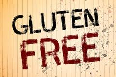Begriffshandschrift, die frei Gluten zeigt Die Geschäftsfotos, die Diät mit den Produkten nicht enthalten Bestandteile zur Schau  lizenzfreie stockfotos