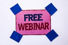 Begriffshandschrift, die freies Webinar zeigt Geschäftsfototext Konferenz-Trainings-Wissens-Seminar-Zusammenarbeit, die w darstel lizenzfreie stockfotografie