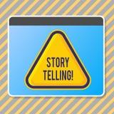 Begriffshandschrift, die Geschichtenerzählen zeigt Geschäftsfototexttätigkeits-Schreibensgeschichten für das Veröffentlichen sie  stock abbildung