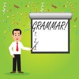 Begriffshandschrift, die Grammatik zeigt Geschäftsfoto Präsentationssystem und Struktur eines Sprachschreibregel-Mannes stock abbildung