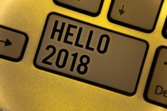 Begriffshandschrift, die hallo 2018 zeigt Die Geschäftsfotos, die zur Schau stellen, eine Motivmitteilung 2017 beginnend des neue Lizenzfreies Stockbild
