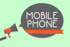 Begriffshandschrift, die Handy zeigt Das Geschäftsfoto, das a-Handgerät zur Schau stellt, verwendete zu den Send-Receiveanrufen u vektor abbildung