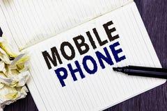 Begriffshandschrift, die Handy zeigt Handgerät des Geschäftsfoto-Textes A verwendete zu Send-Receiveanrufe und -mitteilungen Mark stock abbildung