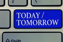 Begriffshandschrift, die heute morgen darstellt Geschäftsfotopräsentation, was jetzt geschieht und was die Zukunft wird es tun lizenzfreies stockbild