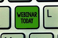 Begriffshandschrift, die heute Webinar zeigt Geschäftsfoto Präsentationsdarstellung, die im Internet stattfindet stockbilder