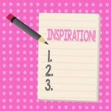 Begriffshandschrift, die Inspiration zeigt Geschäftsfoto-Text Anregung, zum etwas zu glauben oder zu tun kreativ lizenzfreie abbildung