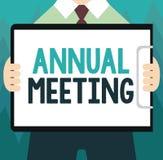 Begriffshandschrift, die Jahresversammlung zeigt Das Geschäftsfoto, das jährliche Versammlung einer Organisation zur Schau stellt lizenzfreie abbildung