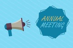Begriffshandschrift, die Jahresversammlung zeigt Das Geschäftsfoto, das jährliche Versammlung einer Organisation zur Schau stellt vektor abbildung