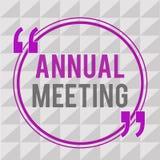 Begriffshandschrift, die Jahresversammlung zeigt Jährliche Versammlung des Geschäftsfoto-Textes einer Organisation interessierte  stock abbildung