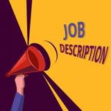 Begriffshandschrift, die Job Description zeigt Geschäftsfoto, das a-Dokument zur Schau stellt, das beschreibt vektor abbildung