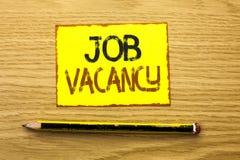Begriffshandschrift, die Job Vacancy zeigt Geschäftsfoto Präsentationsarbeits-Karriere-freie Positions-Einstellungsbeschäftigungs stockfotografie
