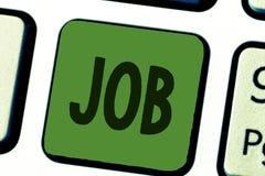 Begriffshandschrift, die Job zeigt Geschäftsfototext A zahlte Position des gelegentlichen Werkstücks der festen Anstellung von stockfotos