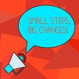 Begriffshandschrift, die kleinen Schritten große Änderungen zeigt Die Geschäftsfotopräsentation lassen Kleinigkeiten vollenden stock abbildung