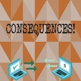 Begriffshandschrift, die Konsequenzen zeigt Geschäftsfototext Ergebnis-Ergebnis-Ertrag-Fazit-Schwierigkeits-Verzweigung stock abbildung