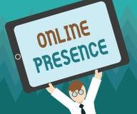 Begriffshandschrift, die on-line-Anwesenheit zeigt Präsentationsbestehen des Geschäftsfotos von jemand, das über gefunden werden  stock abbildung