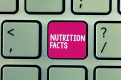 Begriffshandschrift, die Nahrungs-Tatsachen zeigt Geschäftsfoto Präsentationsausführliche information über die Nährstoffe von stockfotografie