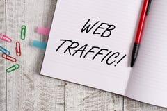 Begriffshandschrift, die Netz-Verkehr zeigt Gesch?ftsfoto-Textmenge Daten geschickt und von den Besuchern zur Website empfangen stockbilder