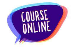 Begriffshandschrift, die online Kurs zeigt Geschäftsfototext ELearning elektronische Bildungs-entfernte Studien-Digital-Klasse Sp stock abbildung