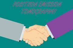 Begriffshandschrift, die Positronen-Emissions-Tomographie zeigt Geschäftsfoto Präsentationsnuklearmedizin funktionell lizenzfreie abbildung