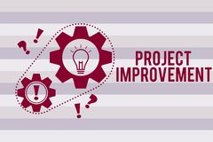 Begriffshandschrift, die Projekt-Verbesserung zeigt Geschäftsfototext Methoden-Techniken, zu vollenden definiert lizenzfreie abbildung