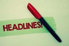 Begriffshandschrift, die Schlagzeilen Motivanruf zeigt Geschäftsfoto Präsentationsüberschrift an der Spitze eines Artikels im new lizenzfreie stockfotografie
