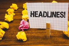 Begriffshandschrift, die Schlagzeilen Motivanruf zeigt Geschäftsfoto-Text Überschrift an der Spitze eines Artikels in Zeitung Clo stockfotografie