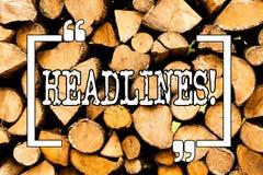 Begriffshandschrift, die Schlagzeilen zeigt Geschäftsfoto Präsentationsüberschrift an der Spitze eines Artikels in der Zeitung lizenzfreies stockbild