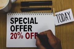 Begriffshandschrift, die Sonderangebot 20 vorführt Geschäftsfototext Rabatt-Förderung Verkäufe verkaufen das geschriebene Marketi Lizenzfreies Stockbild