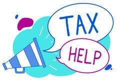 Begriffshandschrift, die Steuer-Hilfe zeigt Geschäftsfoto-Text Unterstützung vom obligatorischen Beitrag zu den Staatseinnahmen M lizenzfreie abbildung