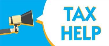 Begriffshandschrift, die Steuer-Hilfe zeigt Geschäftsfoto-Text Unterstützung vom obligatorischen Beitrag zum Staatseinnahmen Mann stock abbildung