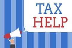Begriffshandschrift, die Steuer-Hilfe zeigt Geschäftsfoto-Text Unterstützung vom obligatorischen Beitrag zum Zustand lizenzfreie abbildung