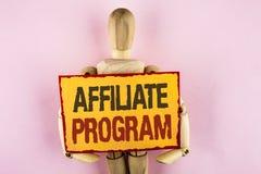 Begriffshandschrift, die Teilnehmer-Programm zeigt Geschäftsfototext-Software-Linklieder apps Bücher und verkaufen sie, um Geld z lizenzfreie stockfotografie