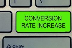 Begriffshandschrift, die Umwandlung Rate Increase zeigt Geschäftsfoto-Text Verhältnis von Gesamtbesuchern, die durchführen, wünsc lizenzfreies stockbild