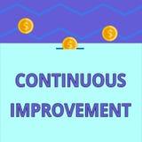 Begriffshandschrift, die ununterbrochene Verbesserung zeigt Laufende Bemühung des Geschäftsfoto-Textes, Produkte zu verbessern od stock abbildung