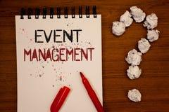 Begriffshandschrift, die Veranstaltungsmanagement zeigt Das Geschäftsfoto, das spezielle Gelegenheits-Zeitplan-Organisation zur S lizenzfreies stockfoto