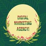 Begriffshandschrift, die vermarktende Agentur Digital zeigt Geschäftsfoto Präsentationshilfsgeschäft im genauen Ziel sich engagie stock abbildung